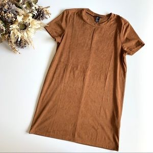 Forever 21 Faux Suede Mustard T-Shirt Dress